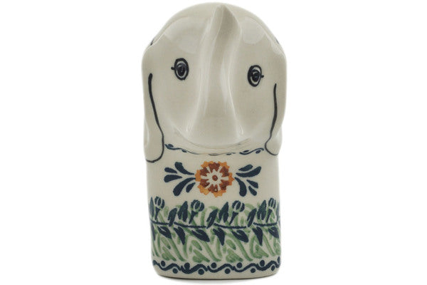 "Polish Pottery 6"" Elephant Figurine Three Lillies UNIKAT"