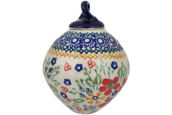 "Polish Pottery 4"" Ornament Christmas Ball Ruby Bouquet UNIKAT"