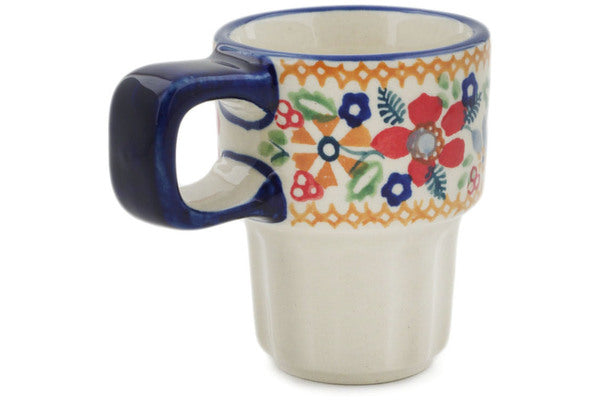 Polish Pottery 3 oz Mug Summer Bouquet UNIKAT