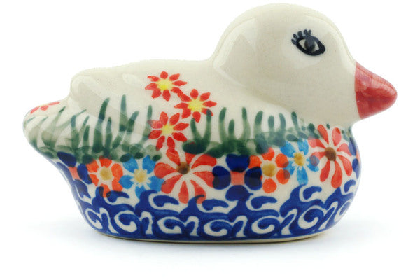 "Polish Pottery 4"" Duck Figurine Blissful Daisy"
