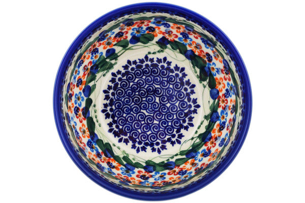 "Polish Pottery 0"" Bowl Starburst Garland UNIKAT"