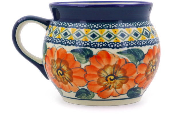 Polish Pottery 16 oz Bubble Mug Peach Poppies UNIKAT
