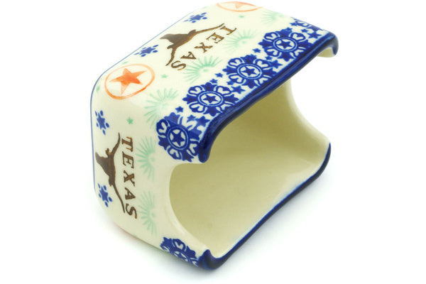 "Polish Pottery 3"" Sugar Packet Holder Texas State"
