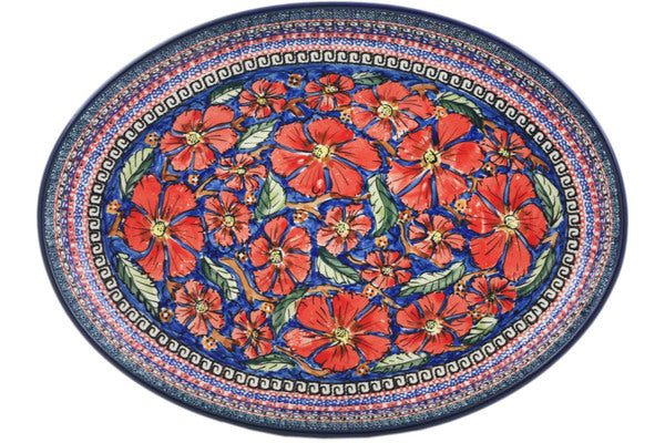 "Polish Pottery 14"" Oval Baker Poppies UNIKAT"