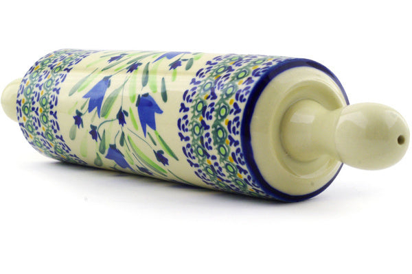 "Polish Pottery 13"" Rolling Pin Tulip Fields UNIKAT"