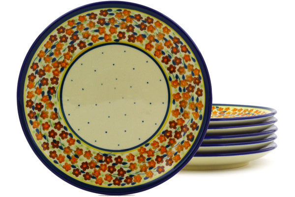 "Polish Pottery 7"" Set of 6 Plates Russett Floral"