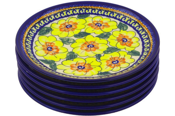 "Polish Pottery 7"" Set of 6 Plates Lemon Poppies UNIKAT"