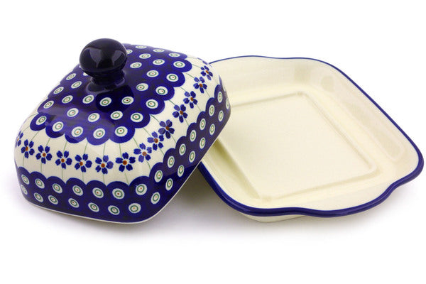 "Polish Pottery 8"" Butter Dish Flowering Peacock"