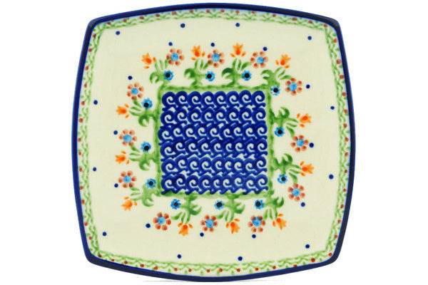 "Polish Pottery 7"" Square Plate Spring Flowers"