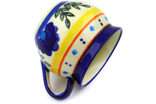 Polish Pottery 10 oz Bubble Mug Blue Diamond Flowers