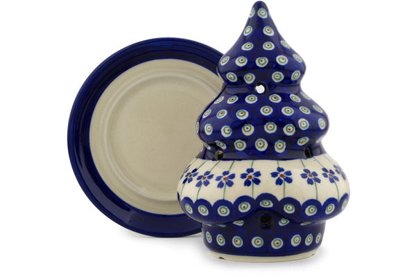 "Polish Pottery 7"" Christmas Tree Candle Holder Flowering Peacock"