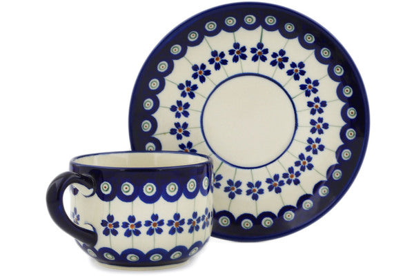 Polish Pottery 7 oz Cup with Saucer Flowering Peacock
