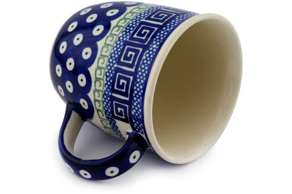 Polish Pottery 12 oz Mug Grecian Peacock