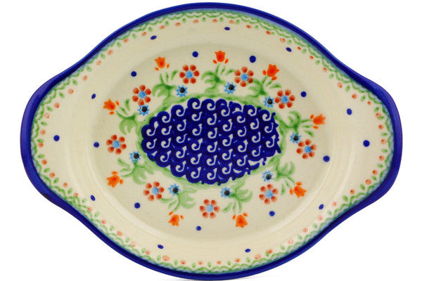 "Polish Pottery 9"" Platter with Handles Spring Flowers"