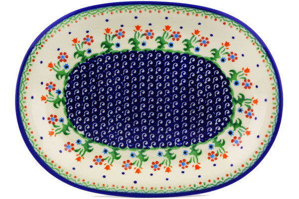 "Polish Pottery 11"" Oval Platter Spring Flowers"
