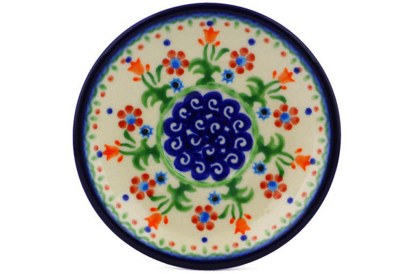 "Polish Pottery 5"" Saucer Spring Flowers"