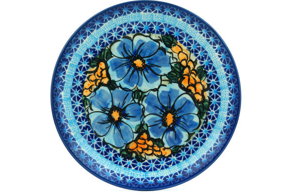 "Polish Pottery 7"" Plate Corn In The Blue UNIKAT"
