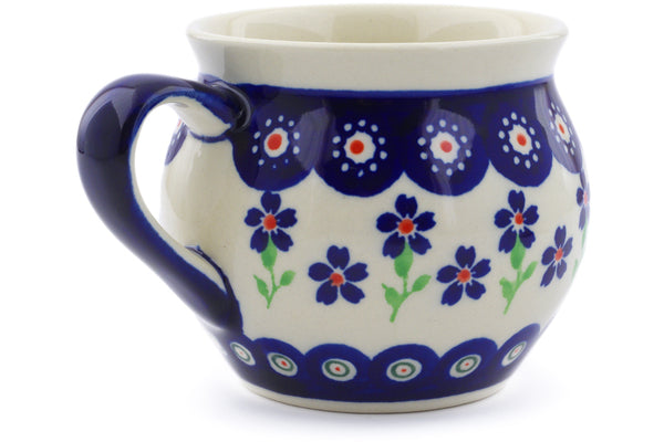 Polish Pottery 10 oz Bubble Mug Bright Peacock Daisy