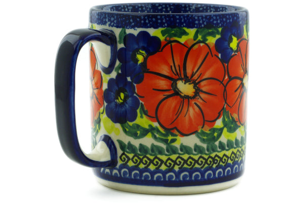 Polish Pottery 12 oz Mug Red Star UNIKAT