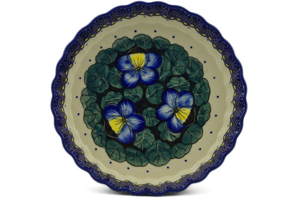 "Polish Pottery 8"" Pie Dish Flower In The Grass UNIKAT"