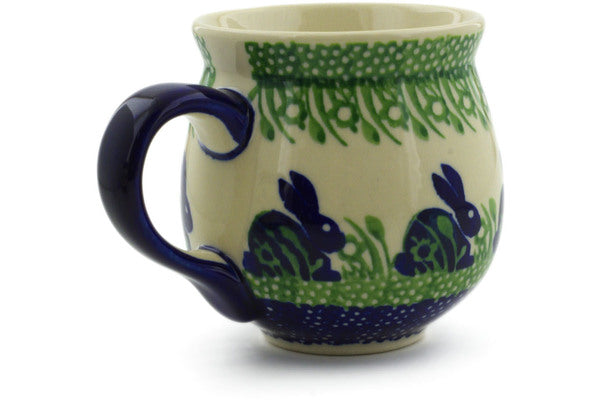 Polish Pottery 10 oz Bubble Mug Hare In Tall Grass