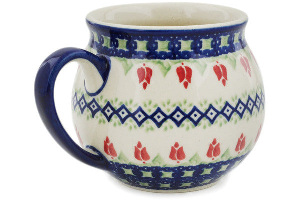 Polish Pottery 12 oz Bubble Mug Tulips And Diamonds