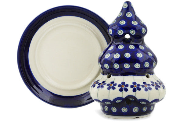 "Polish Pottery 6"" Christmas Tree Candle Holder Flowering Peacock"