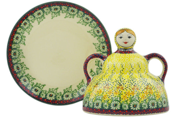 "Polish Pottery 7"" Cheese Lady Sunshine Grotto UNIKAT"