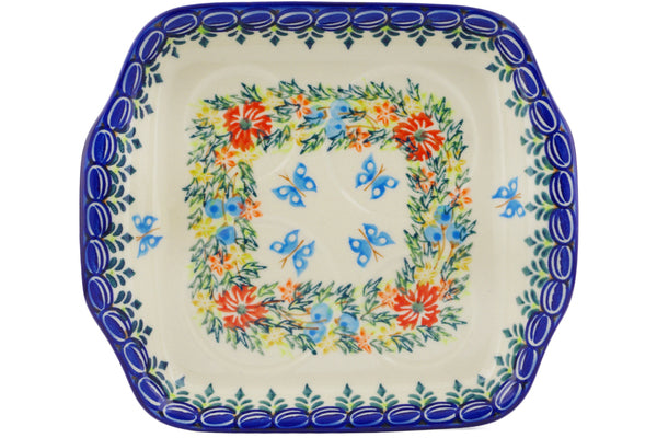 "Polish Pottery 8"" Tray with Handles Ring Of Flowers UNIKAT"