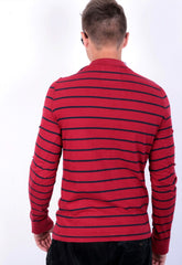 Hollister Mens M T-Shirt Long Sleeve Red Cotton Striped - RetrospectClothes