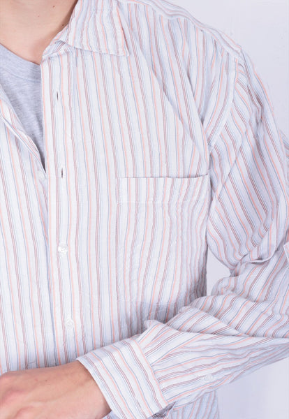 John Baner Mens XL 41/42 Casual Shirt Striped Cotton - RetrospectClothes