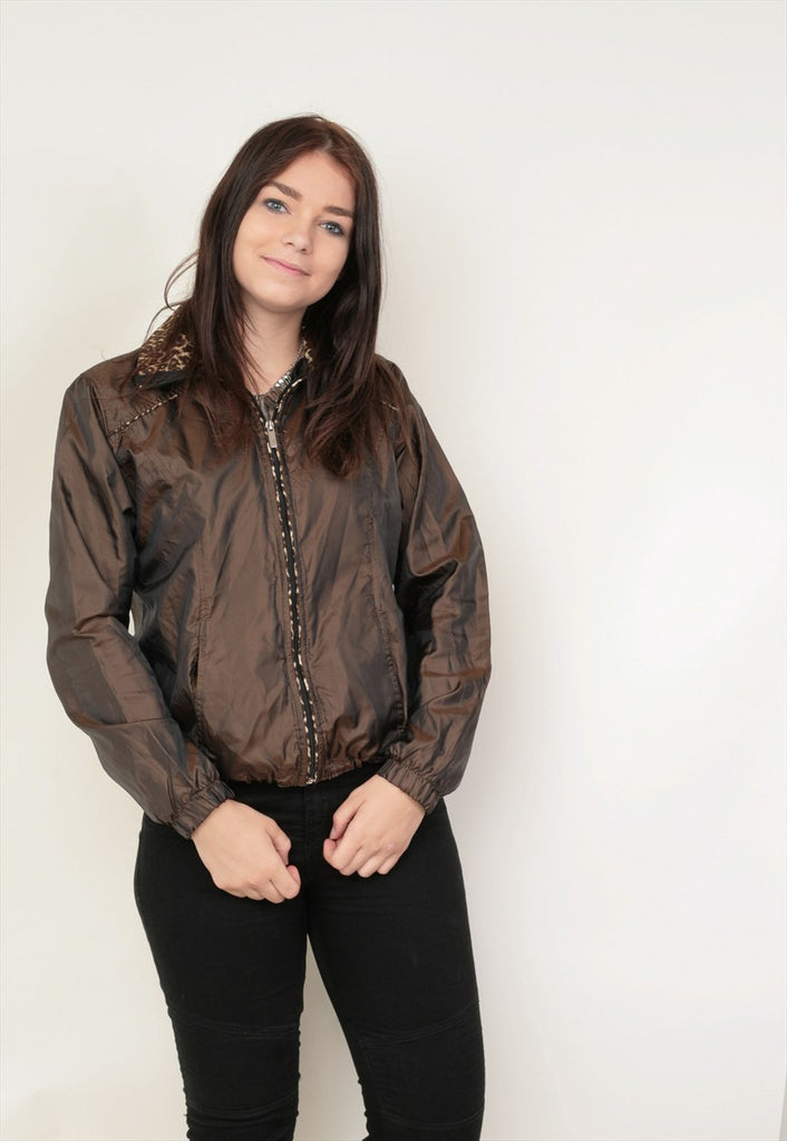 Kim Rogers Womens M Jacket Brown Shiny Nylon Full Zipper - RetrospectClothes