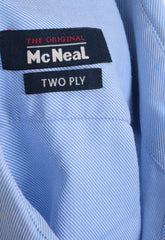McNeal Mens 41 M Casual Shirt Blue Two Ply Cotton Buttons Down - RetrospectClothes