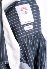 S.Oliver Mens M Casual Shirt Striped Slim Fit Grey Cotton - RetrospectClothes