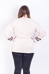 Womens XL Jumper Sweater Beige Crew Neck Long Sleeve - RetrospectClothes