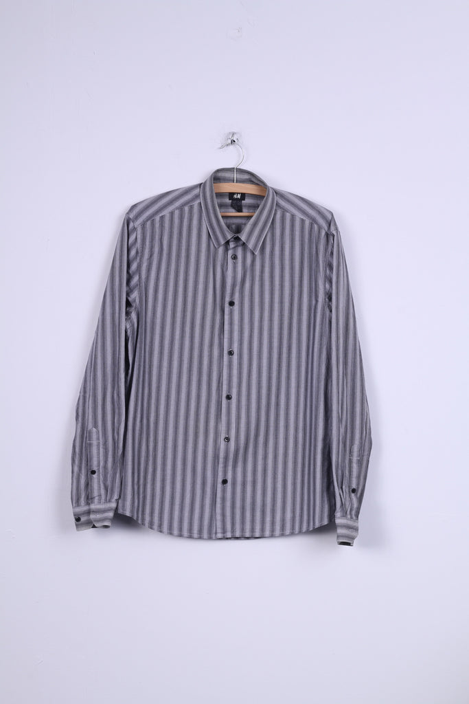 H&M Mens L (M) Casual Shirt Black White Striped Cotton Long Sleeve