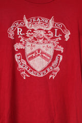 Polo Ralph Lauren Womens XL T-Shirt Crew Neck Graphic Red Cotton Top