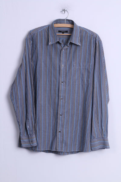 Jaeger Mens L Casual Shirt Blue Cotton Striped Button Down Collar Long Sleeve