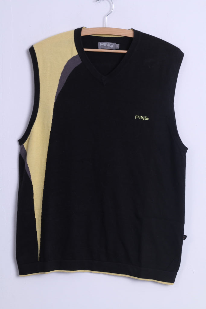 PING Collection Mens M Vest Black Cotton F3D V Neck Golf Sleeveless
