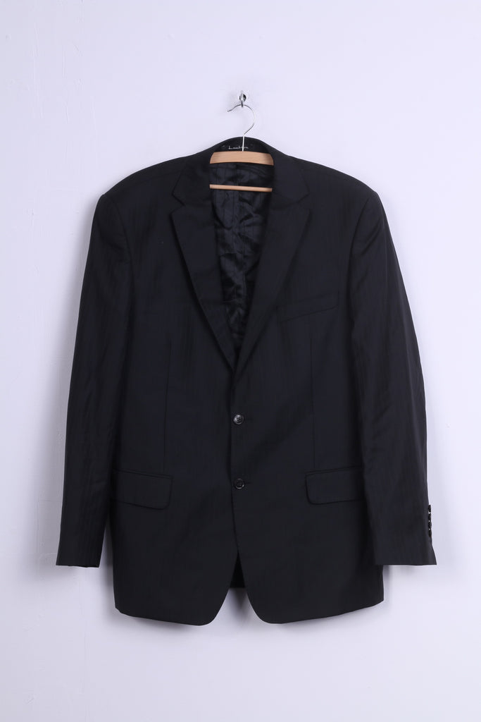 Guabello Mens 182/108/94 L Blazer Black Striped Wool Lantier Italy Super '130 Suit Top