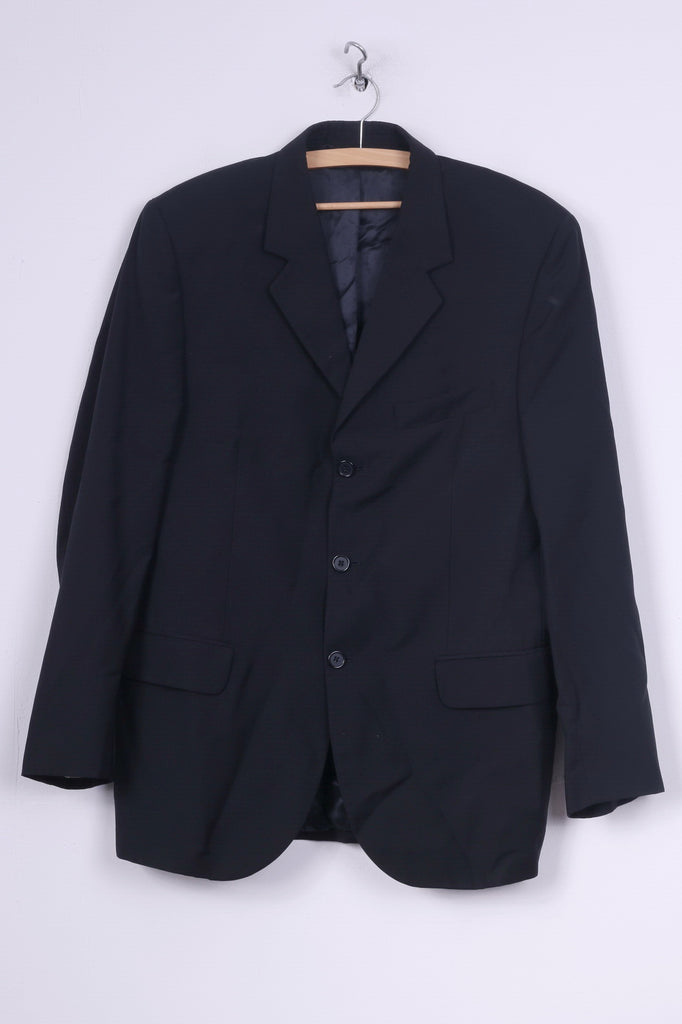 Vivaldi Mens 52 M Blazer Navy Single Breasted Super 110's Italy Shoulder Pads Vintage