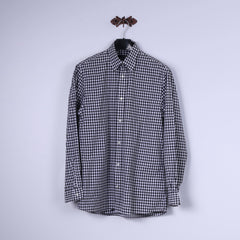Jaeger Mens M Casual Shirt Black & White Check 100% Cotton Long Sleeve Top