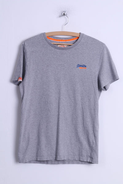 Superdry Mens M (S) T-Shirt Grey Cotton Crew Neck Japan Universal Tee Shirt