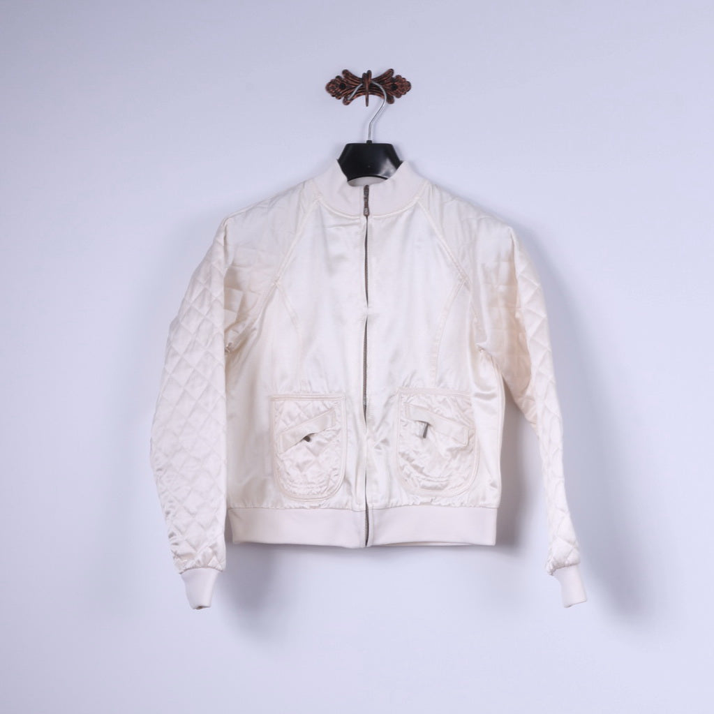 Bill Blass Jeans Womens M (S) Jacket Retro Cream Shiny Quilted Cotton Blend Zip Up Top