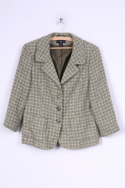 H&M Womens 42 L Blazer Green Jacket Check Single Breasted Two Pockets 7/8 Sleeve