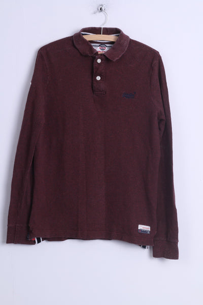 Superdry Mens XL (M) Polo Shirt Burgundy Cotton Long Sleeve Detailed Buttons Japan