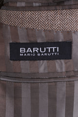 Mario Barutti Mens 54 XL Blazer Beige Silk Herringbone Pads Single Breasted Jacket
