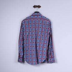 Paul Smith Red Ear Mens M Casual Shirt Blue Cotton Check Long Sleeve Premium Top
