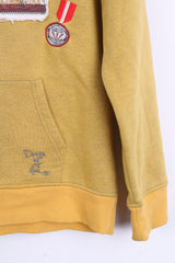 Tom Tailor Womens L Sweatshirt Yellow Hood Cotton Sport Kangaroo Pocket - RetrospectClothes
