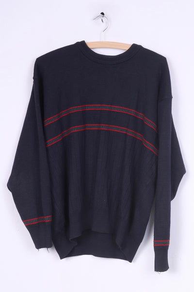 Jaeger Mens M Jumper Crew Neck Top Pullover Navy Sweater Wool Vintage